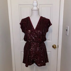 Burgundy sequence going out New Year's romper!